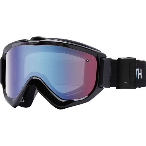 Smith Optics Knowledge Turbo Fan OTG Snow Goggles (Black Frame, Blue Sensor Mirror Lens)