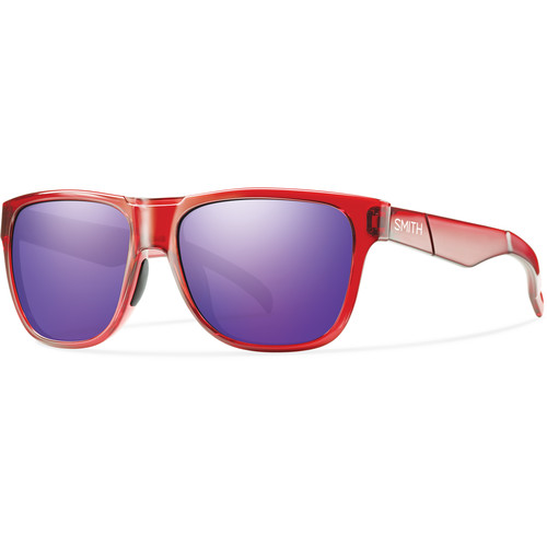 Smith Optics Lowdown Sunglasses with Purple Sol-X Mirror Lenses (Crystal Red Frames)