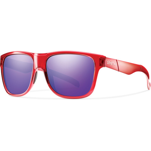 Smith Optics Lowdown XL Men's Sunglasses with Purple Sol-X Mirror Lenses (Crystal Red Frame)