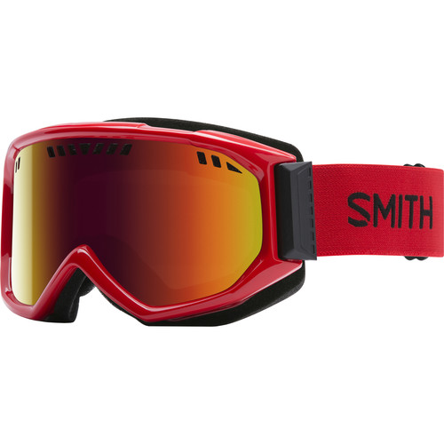 Smith Optics Medium-Fit Scope Snow Goggle (Fire Frames, Red Sol-X Mirror Lenses)