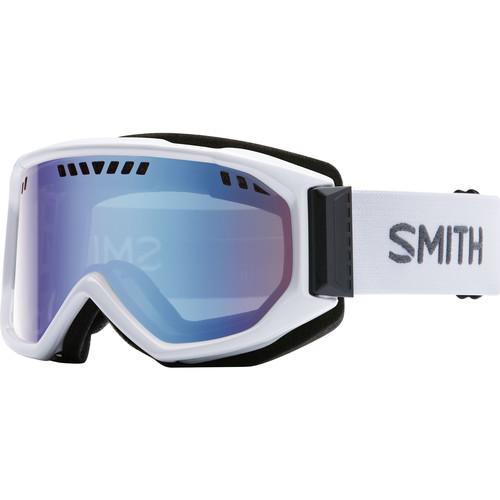 Smith Optics Medium-Fit Scope Snow Goggle (White Frames, Blue Sensor Mirror Lenses)