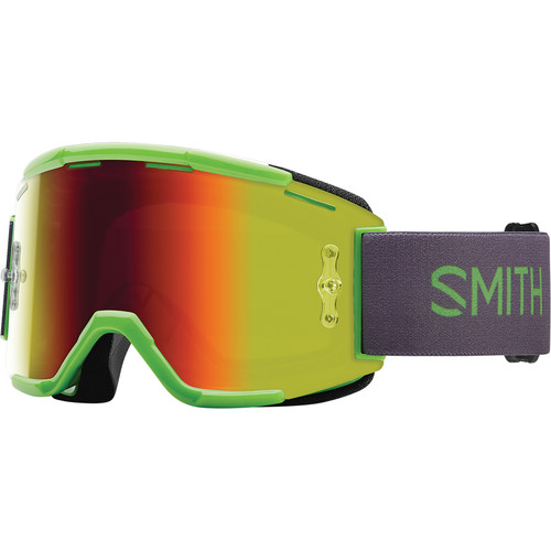 Smith Optics Squad MTB Off Road Goggle (Reactor Frame, Red Sol-X Mirror Lens)