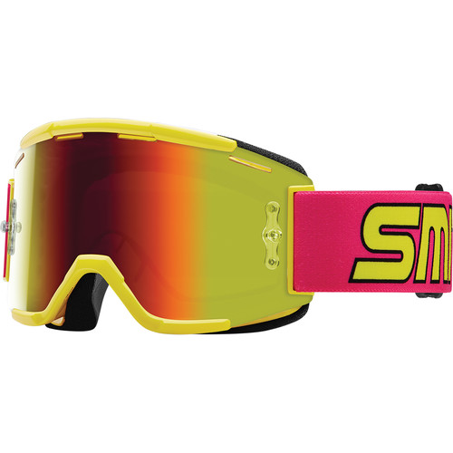 Smith Optics Squad MTB Off Road Goggle (Archive 1991 Neon Frame, Red Sol-X Mirror Lens)