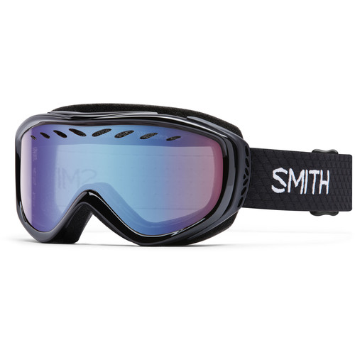 Smith Optics Women's-Fit Transit Snow Goggles (Black Frames, Blue Sensor Mirror Lenses)