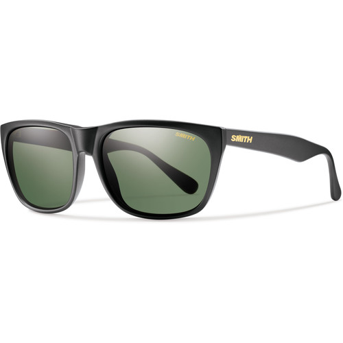 Smith Optics Tioga Unisex Sunglasses with Matte Black Frames & Polar Gray Green Carbonic TLT Lenses