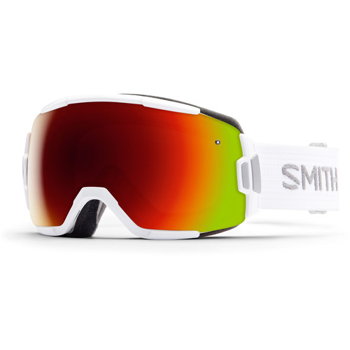 Smith Optics Medium-Fit Vice Snow Goggle (White Frame, Red Sol-X Mirror Lens)