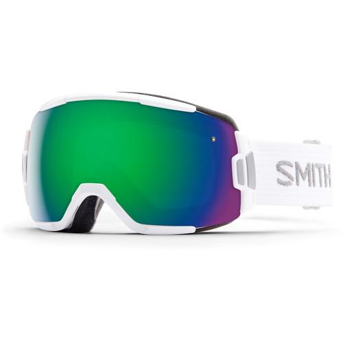 Smith Optics Medium-Fit Vice Snow Goggle (White Frame, Green Sol-X Mirror Lens)