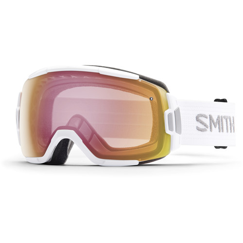 Smith Optics Medium-Fit Vice Snow Goggle (White Frame, Red Sensor Mirror Lens)