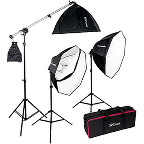 Smith-Victor OctaBella 1500W 3-Light LED Softbox Kit with Boom Arm