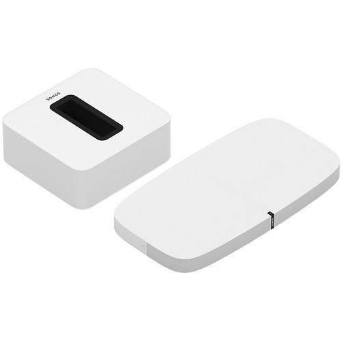 Sonos PLAYBASE Wireless Soundbase and SUB Wireless Subwoofer Kit (White)