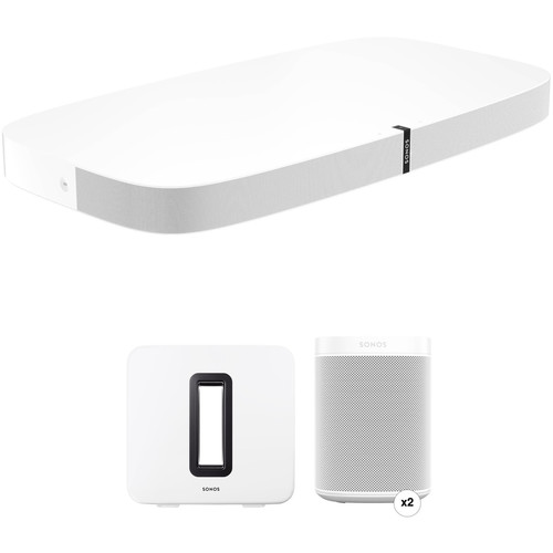 Sonos PLAYBASE Wireless Soundbase, One Wireless Speaker Pair, and SUB Wireless Subwoofer Kit (White)