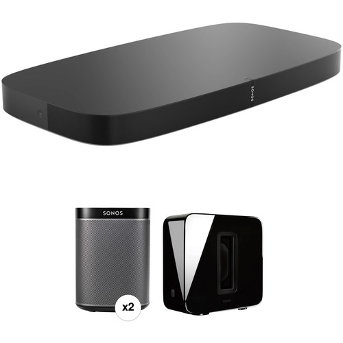 Sonos PLAYBASE Wireless Soundbase, PLAY:1 Wireless Speaker Pair, and SUB Wireless Subwoofer Kit (Black)