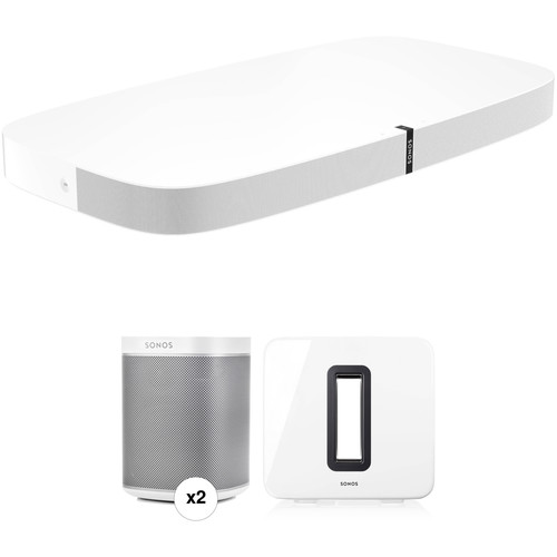 Sonos PLAYBASE Wireless Soundbase, PLAY:1 Wireless Speaker Pair, and SUB Wireless Subwoofer Kit (White)