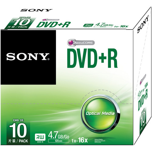 Sony DVD+R 4.7GB Recordable Media Slim Case (10-Pack)