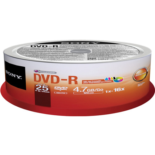 Sony DVD-R 4.7GB Recordable Printable Media (25 Discs, Spindle)