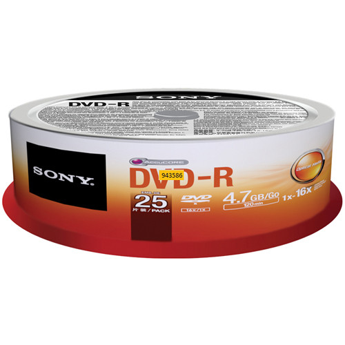Sony DVD-R 4.7 GB Recordable Discs (Spindle Pack of 25)