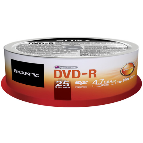 Sony DVD-R 4.7 Recordable Discs (Spindle Pack of 25)