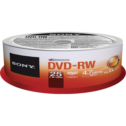 Sony DVD-RW 4.7GB Recordable Media Spindle (25 Discs)