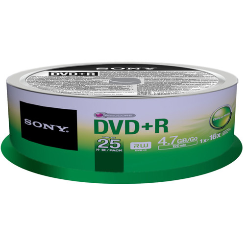 Sony 4.7GB DVD+R Recordable Discs (25-Pack Spindle)