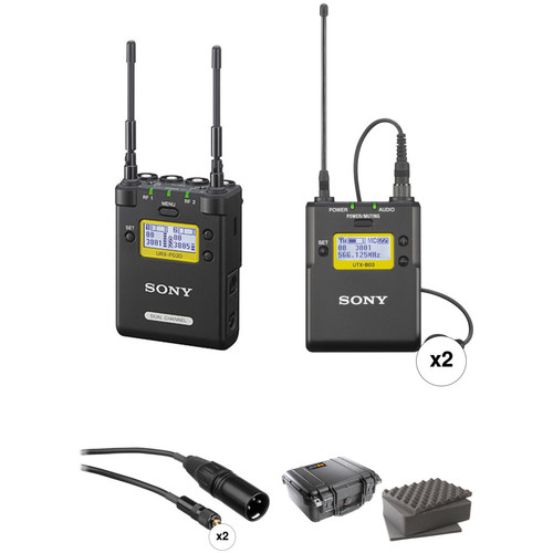 Sony 2-Channel Portable Receiver with Two Bodypack Transmitters and Lav Mics Kit (Ch. 30 to 36 and 38 to 41)