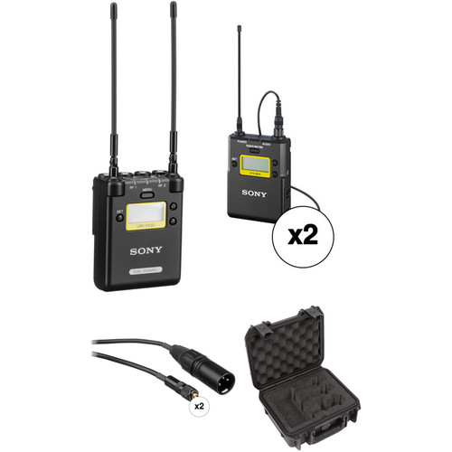 Sony 2-Channel Portable Receiver with Two Bodypack Transmitters and Lav Mics Kit (Ch. 25/36)