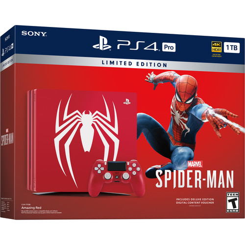 Sony PlayStation 4 Pro Marvel's Spider-Man Limited Edition Console Bundle (Red)