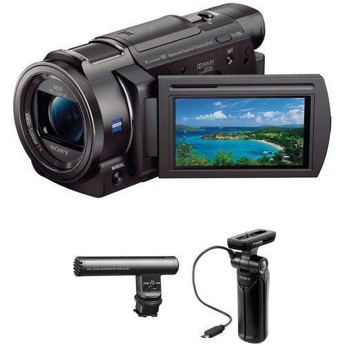 Sony 4K Vlogging Kit with Sony FDR-AX33 Camera, Zoom Mic & Shooting Grip with Mini Tripod