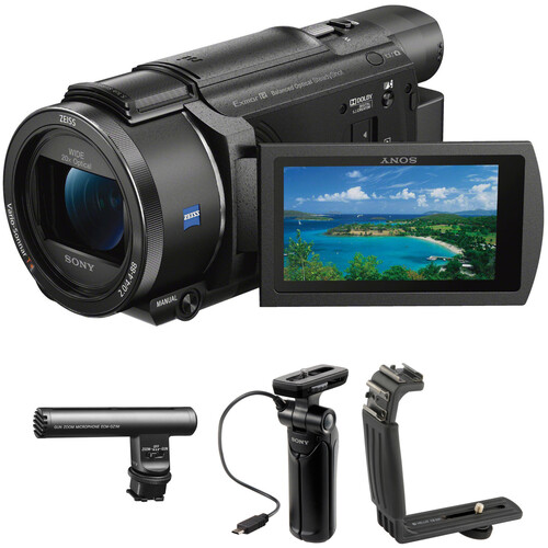 Sony 4K Vlogging Kit with Sony FDR-AX53 Camera, Zoom Mic & Shooting Grip with Mini Tripod