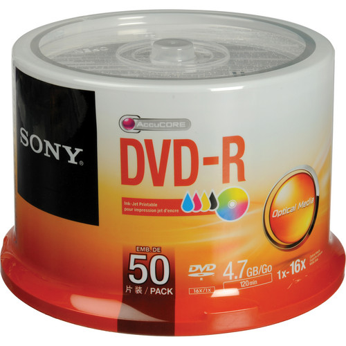 Sony DVD-R 4.7 GB White Inkjet Printable Recordable Discs (Spindle Pack of 50)