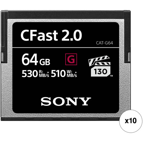 Sony 64GB CFast 2.0 G Series Memory Card (10-Pack)