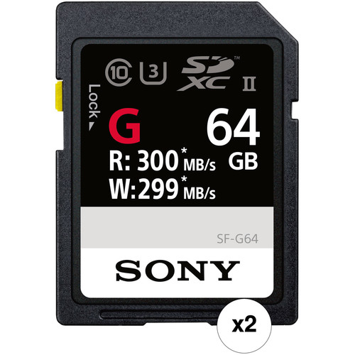 Sony 64GB SF-G Series UHS-II SDXC Memory Card (2-Pack)
