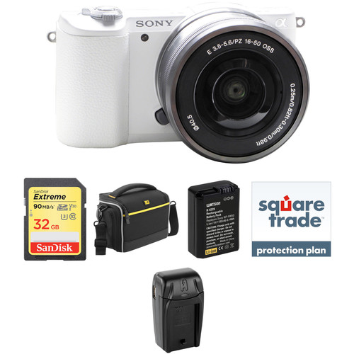 Sony Alpha a5100 Mirrorless Digital Camera with 16-50mm Lens Deluxe Kit (White)