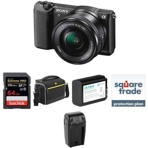 Sony Alpha a5100 Mirrorless Digital Camera with 16-50mm Lens Deluxe Kit (Black)