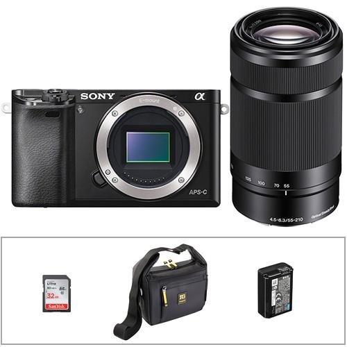 Sony Alpha a6000 Mirrorless Digital Camera w/ 55-210mm Lens & Accessories kit (Black)