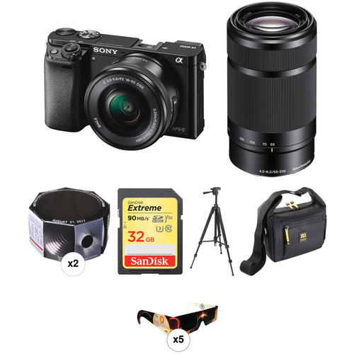 Sony a6000 Mirrorless Digital Camera with 16-50mm and 55-210mm Lenses Solar Eclipse Kit