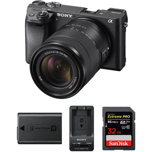 Sony a6300 Mirrorless Digital Camera with 18-135mm Lens Premium Kit (Black)