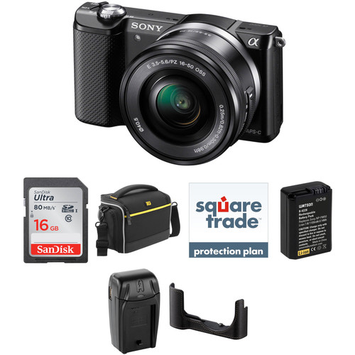 Sony Alpha a5000 Mirrorless Digital Camera with 16-50mm Lens Deluxe Kit (Black)
