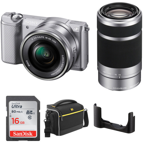 Sony Alpha a5000 Mirrorless Digital Camera with 16-50mm and 55-210mm Lenses Kit (Silver)