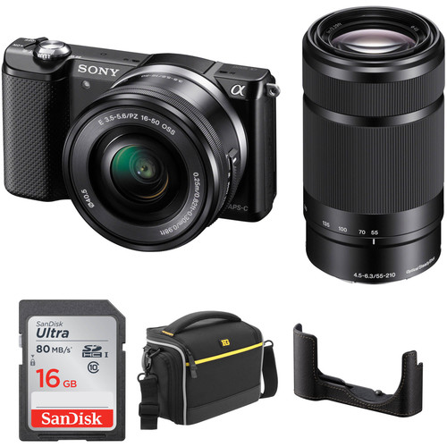 Sony Alpha a5000 Mirrorless Digital Camera with 16-50mm and 55-210mm Lenses Kit (Black)