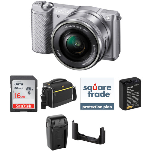 Sony Alpha a5000 Mirrorless Digital Camera with 16-50mm Lens Deluxe Kit (Silver)