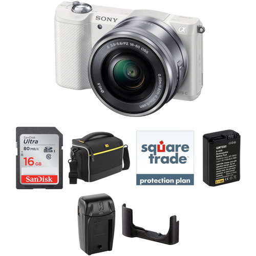 Sony Alpha a5000 Mirrorless Digital Camera with 16-50mm Lens Deluxe Kit (White)