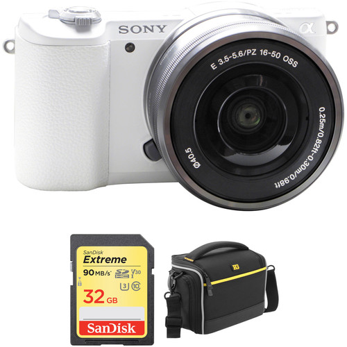 Sony Alpha a5100 Mirrorless Digital Camera with 16-50mm Lens Basic Kit (White)