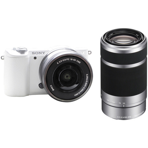 Sony Alpha a5100 Mirrorless Digital Camera Kit with Silver 16-50mm and 55-210mm Lenses (White)