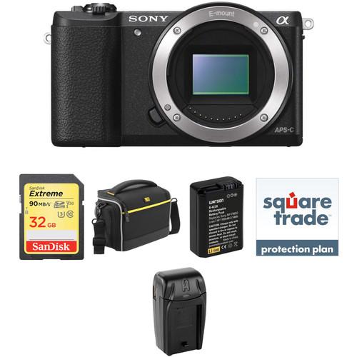 Sony Alpha a5100 Mirrorless Digital Camera Body Deluxe Kit (Black)
