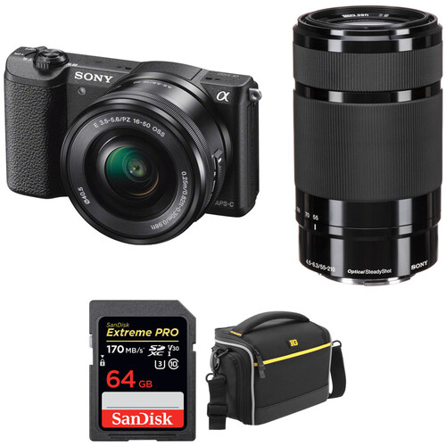 Sony Alpha a5100 Mirrorless Digital Camera with 16-50mm and 55-210mm Lenses and Accessories Kit (Black)