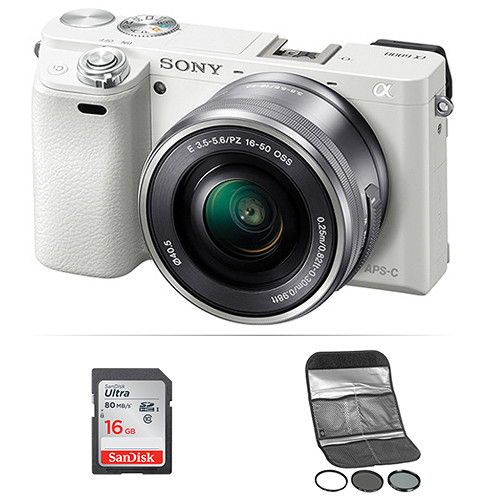 Sony Alpha a6000 Mirrorless Digital Camera with 16-50mm Lens and Accessories Kit (White)