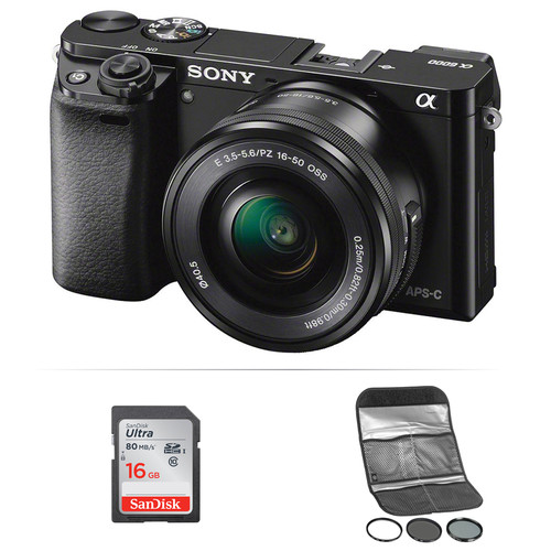 Sony Alpha a6000 Mirrorless Digital Camera with 16-50mm Lens and Accessories Kit (Black)