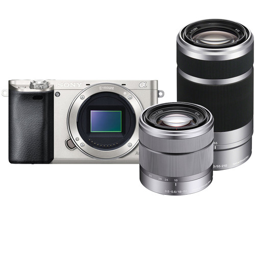 Sony Alpha a6000 Mirrorless Digital Camera with 18-55mm and 55-210mm Lenses Kit (Silver)