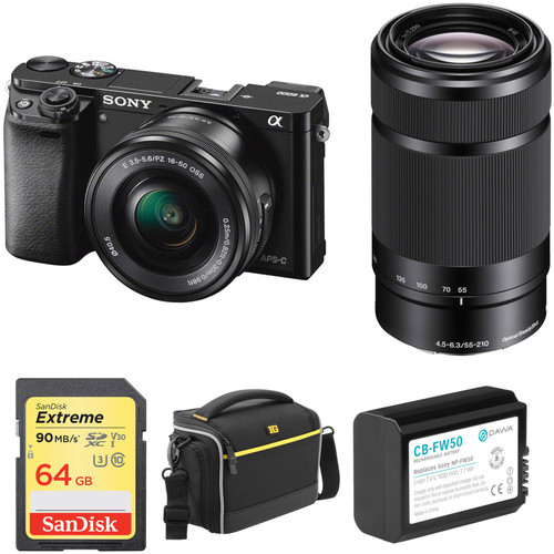 Sony Alpha a6000 Mirrorless Digital Camera with 16-50mm and 55-210mm Lenses and Accessory Kit (Black)