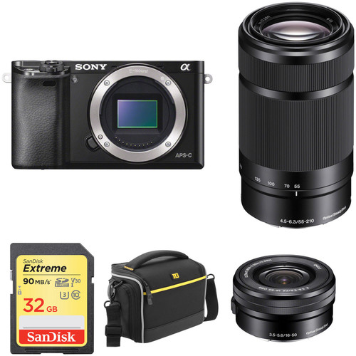Sony Alpha a6000 Mirrorless Digital Camera with 16-50mm and 55-210mm Lenses Basic Kit (Black)